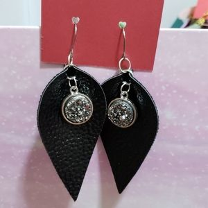 Black faux leather earrings with black druzy charm